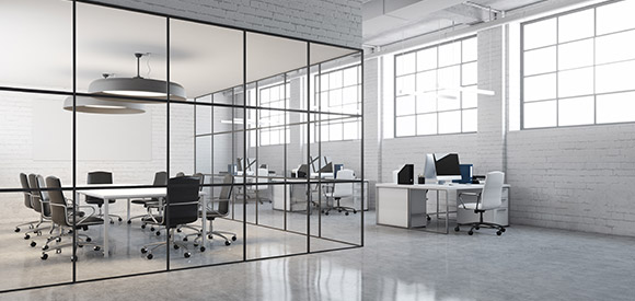 modern loft office space, white brick walls, large boardroom